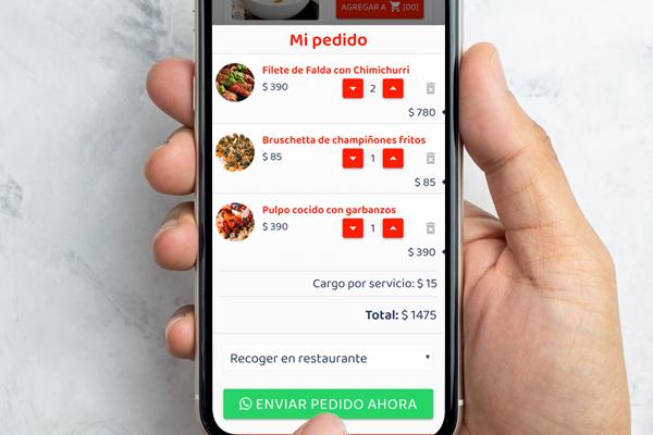 Menú en línea con pedidos a Whatsapp