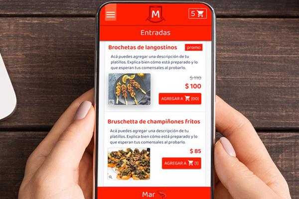 Menú en línea con platillos ilimitados